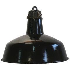 Industrial Black Enamel Factory Hanging Lamp, 1950s