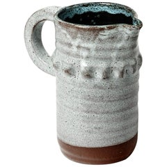 Accolay Brutalist Pottery Ceramic Pitcher, France, circa 1960