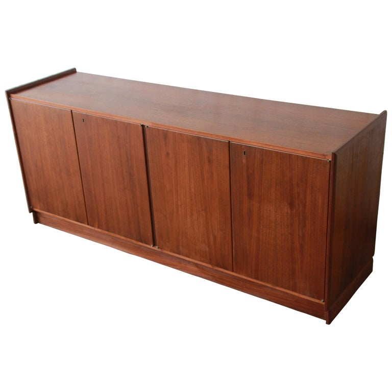 Mid-Century Modern Walnut Record Cabinet, Credenza, or Bar Cabinet