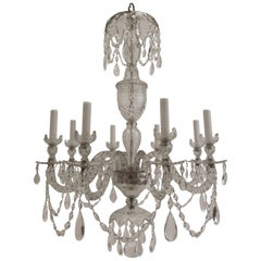 Fine English Georgian Neoclassical Style Cut Lead Crystal Chandelier