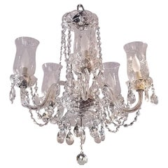 Etched Hurricane Shade Crystal 5-Arm Chandelier