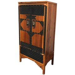 Vintage Wood and Iron Metal Work Armoire