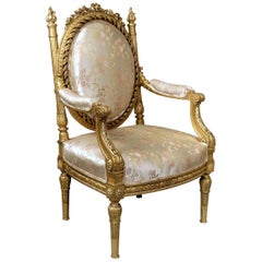 Very Impressive Late 19th Century Louis XVI Style Giltwood Throne Chair