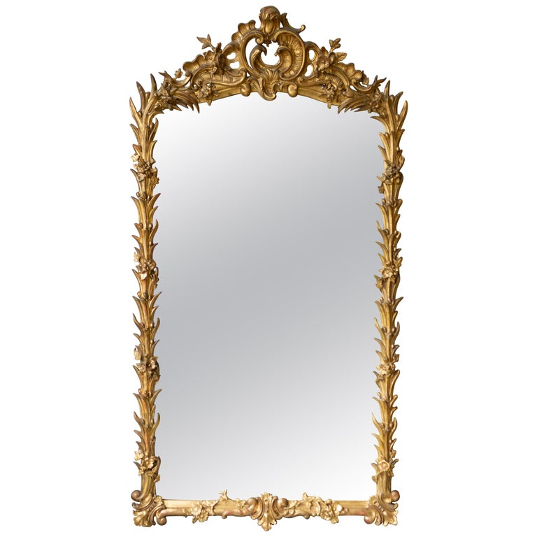 Large French Ornate Rococo Style Gilt Mirror For Sale