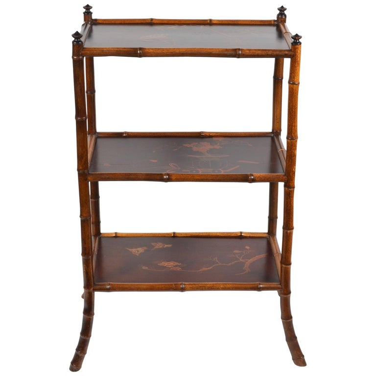 19th Century English Bamboo and Japanned Lacquer Three-Tier Etagere or Stand