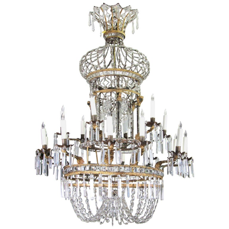 Early 19th Century Gilt Bronze and Crystal Chandelier