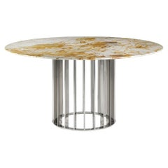 Orbiter, Contemporary Round Dining Table with Steel Base and Marble Top