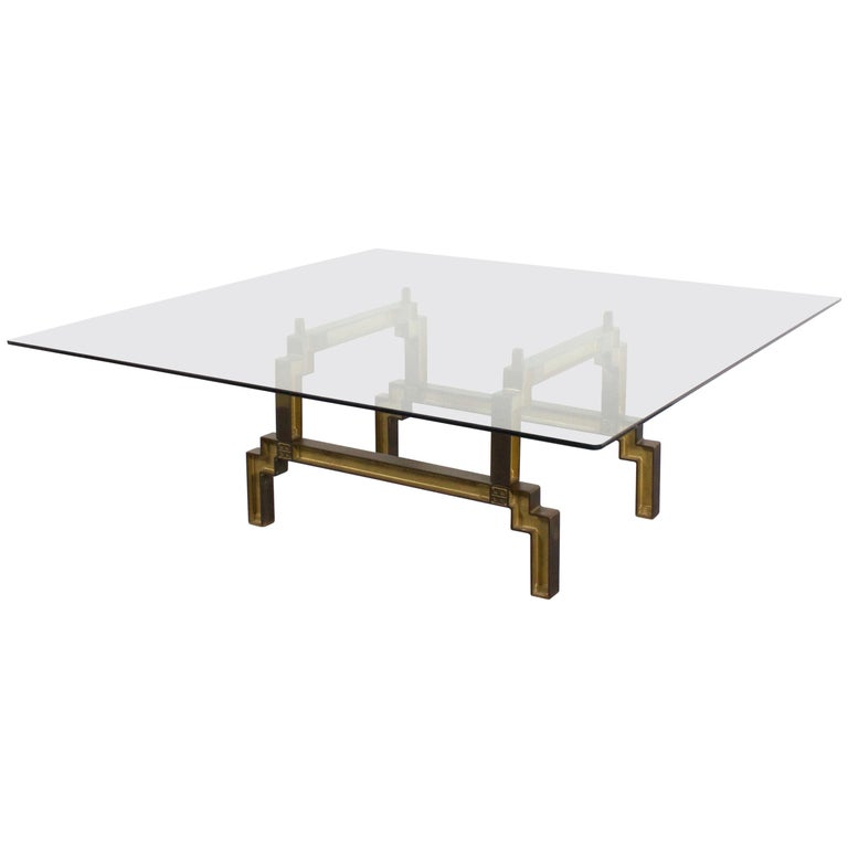 Sculptural Bronze and Glass Coffee Table by Peter Ghyczy