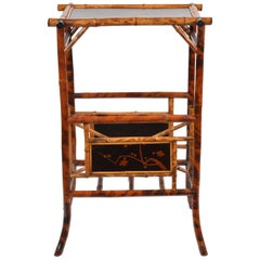 19th Century English Bamboo and Japanned Lacquer Occasional Canterbury Table