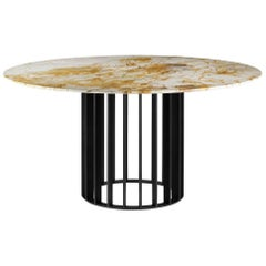 Orbiter, Contemporary Round Dining Table with Black Metal Base and Marble Top