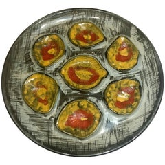 Estate French Hand-Painted Art Pottery Oyster Plate, circa 1960-1970