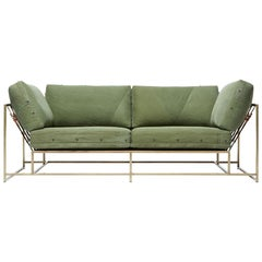 Vintage Military Canvas and Antique Brass Two-Seat Sofa