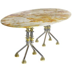 Sputnik, Contemporary Oval Dining Table with Spiderman Marble Top and Metal Base