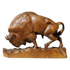 Bison Sculpture in Wood
