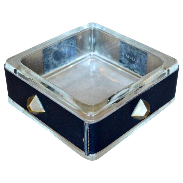 Jacques Adnet Leather and Glass Catchall