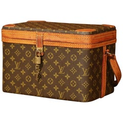 Mid-20th Century Louis Vuitton Train Case Vanity Travel Make Up Box