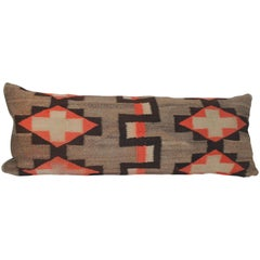19th Century Navajo Weaving Bolster Pillow with Leather Backing