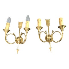 Mid-Century Modern Pair of Signed Bronze Sconces by Petitot, France, circa 1940