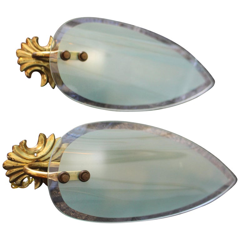 Italian Pair of Wall lights after Max Ingrand For Sale