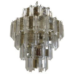 Midcentury Brass, Glass and Lucite Chandelier