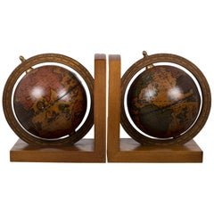 Pair of Rotating Globe Bookends with Brass Tips, circa 1950s-1970s