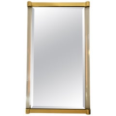 Charles Hollis Jones Style Tubular Lucite and Brass Wall Mirror