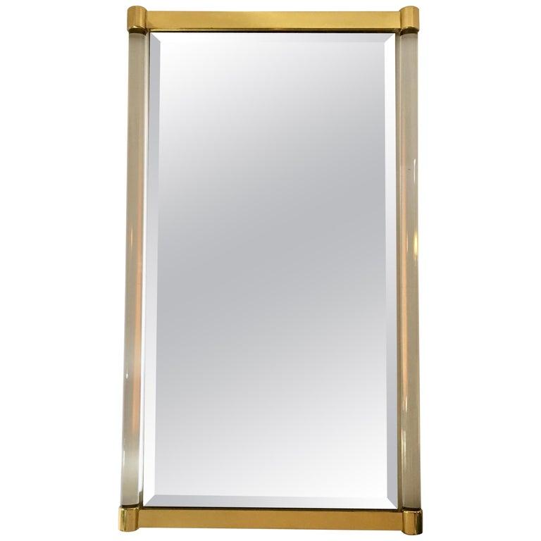 Sehr Große Luciter und Messing Spiegel von Guy Lefevre für Maison ...