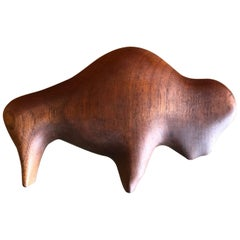 Midcentury Minimalist Buffalo Carving / Sculpture in Walnut by Alan Middleton