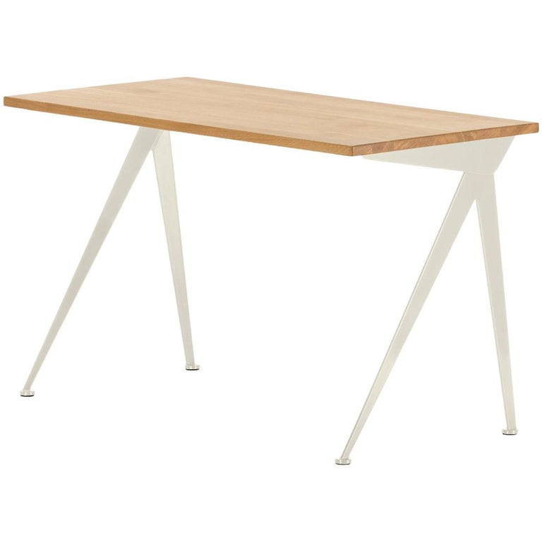 Jean Prouvé Compas Direction Desk in Natural Oak and Ecru White Metal for Vitra