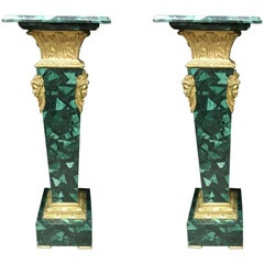 Pair of French Ormolu Mounted Malachite Pedestals