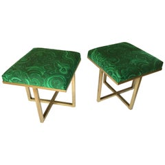 Hollywood Regency Style Tony Duquette Malachite Stool Ottomans