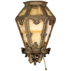 1 of 4 Antique 1920s Slag Glass and Bronze Sconce