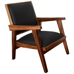 Mexican Conacaste Modern Rustic Solid Wood Chair with Fine Leather Seats