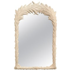 Vintage Palm Tree Frond Leaf Wall Mirror Lacquered White
