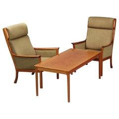1960s Danish Modern Ole Wanscher for P. Jeppesen Mahogany Armchairs & Coffee Tab