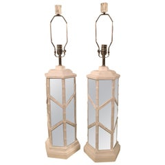 Vintage Faux Bamboo Mirrored Chinese Chippendale Pair of Table Lamps White