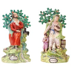 Pair of Large Bocage Figures, Elijah and the Widow, Walton, circa 1820