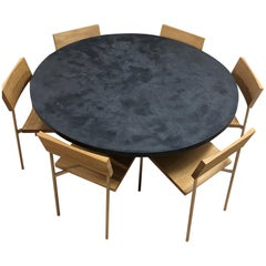 Concrete Wood and Stainless Steel Dining Set