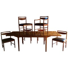 Rosewood Dining Table and Six Chairs Tom Robertson for A.H McIntosh, circa 1960s