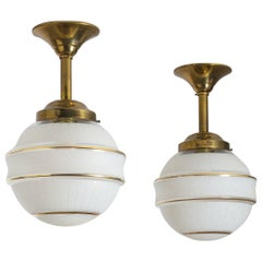 Pair of French Art Deco Ceiling Lights, 1940s