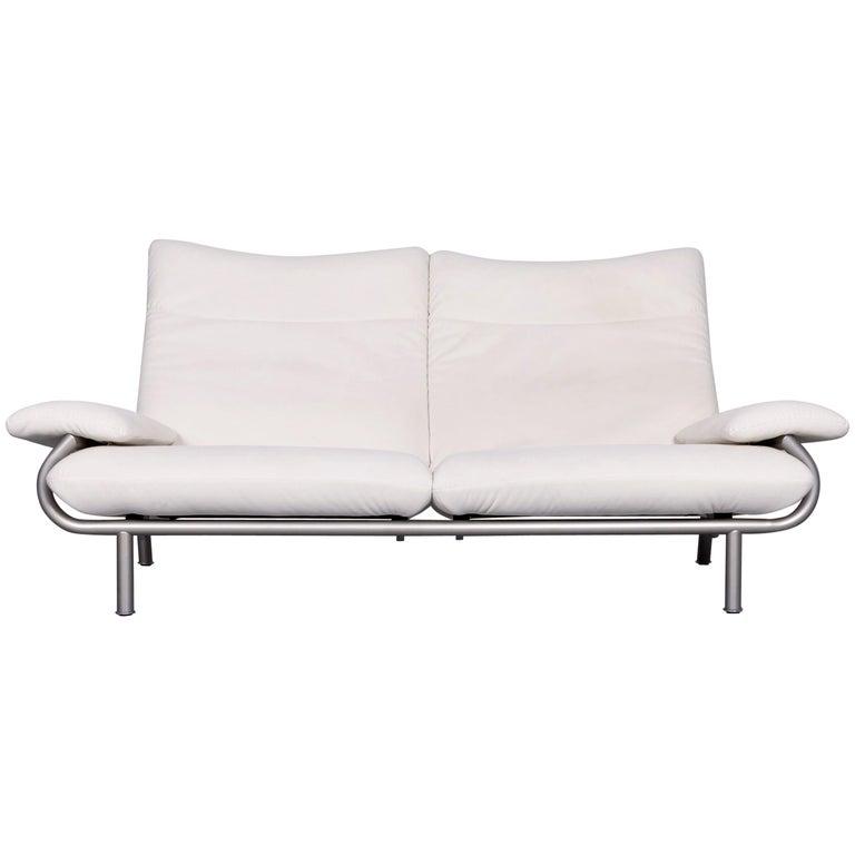 Laauser Designer Fabric Sofa White Three-Seat Couch