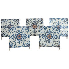 Very Rare Set of Five Chinese Porcelaine Tiles, 18th Century