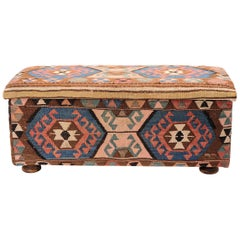 """Chest or Trunk Upholstered with Old Shahsavan """"Mafrash"""""""