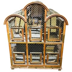 19th Century French Mahogany Architectural Bird Cage with Brass Elements