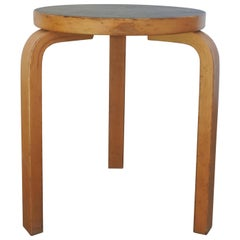 Alvar Aalto Tripod Stool 60 in Birch and Black Laminate, Finland, 1970s