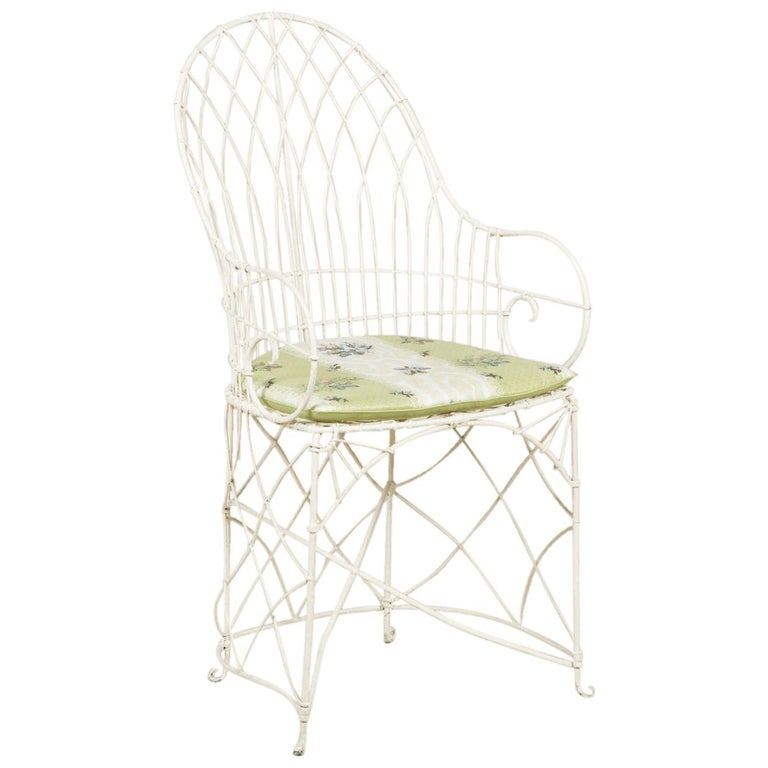 Pair of White Painted 19th Century Wire Conservatory Chairs