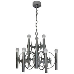 Gaetano Sciolari Large Brutalist Chandelier in Chromed Brass Labeled, Italy