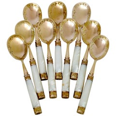 Piault French Sterling Silver, 18k Gold, Mother-of-Pearl Ice Cream Spoons Set