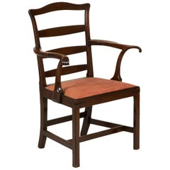 George III Mahogany Ladder-Back Elbow Chair