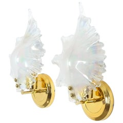 Pair of Iridescent Murano Glass Sconces, France, 1970